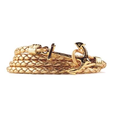 Kiel James Patrick 美國手工船錨皮革多圈手環 金色多層次編織
