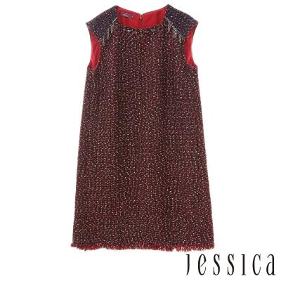 JESSICA-個性鍊飾混毛流蘇造型無袖洋裝(酒紅)