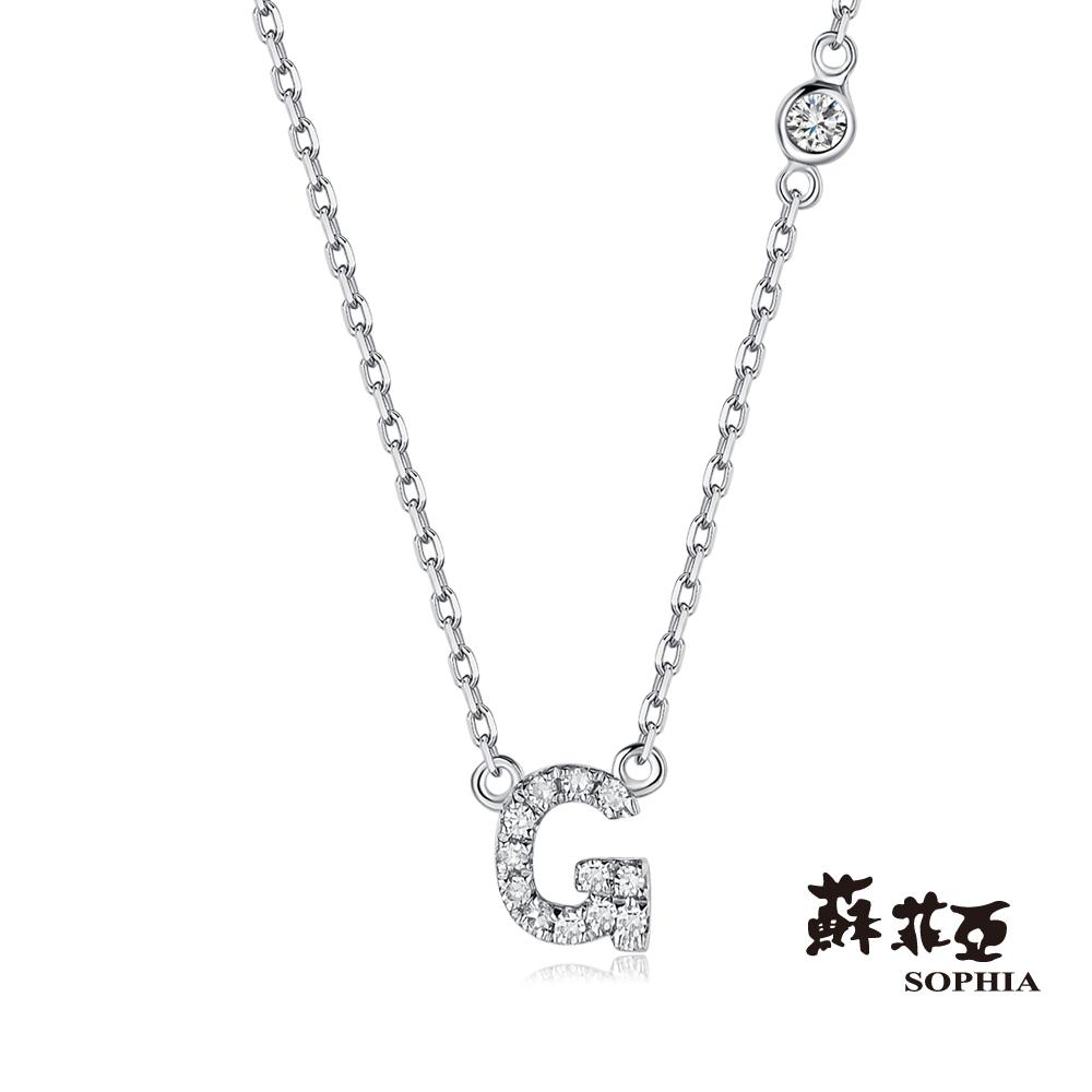 蘇菲亞SOPHIA 鑽鍊-英文字母鍊系列 G字鑽石項鍊(共2色)