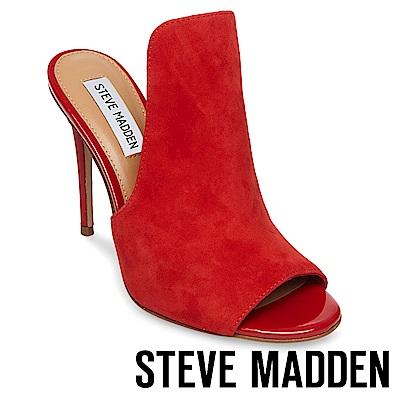 STEVE MADDEN-SINFUL 魚口高跟涼拖鞋-絨紅