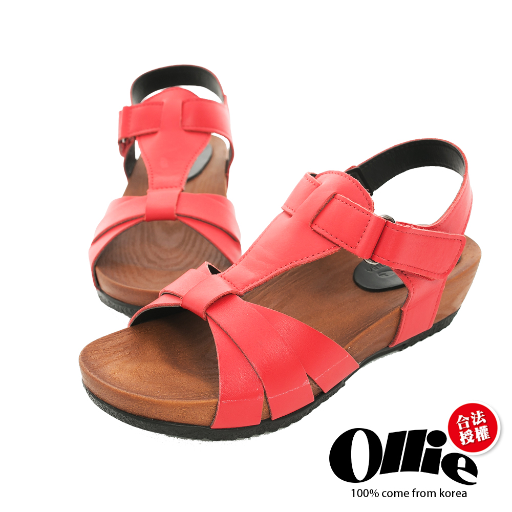 Ollie韓國空運-正韓製真皮剪裁T型厚底涼鞋-紅
