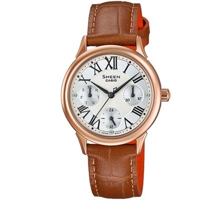 SHEEN羅馬時刻施華洛世奇時尚佳人皮帶腕錶(SHE-3049PGL-7)金框30.5mm