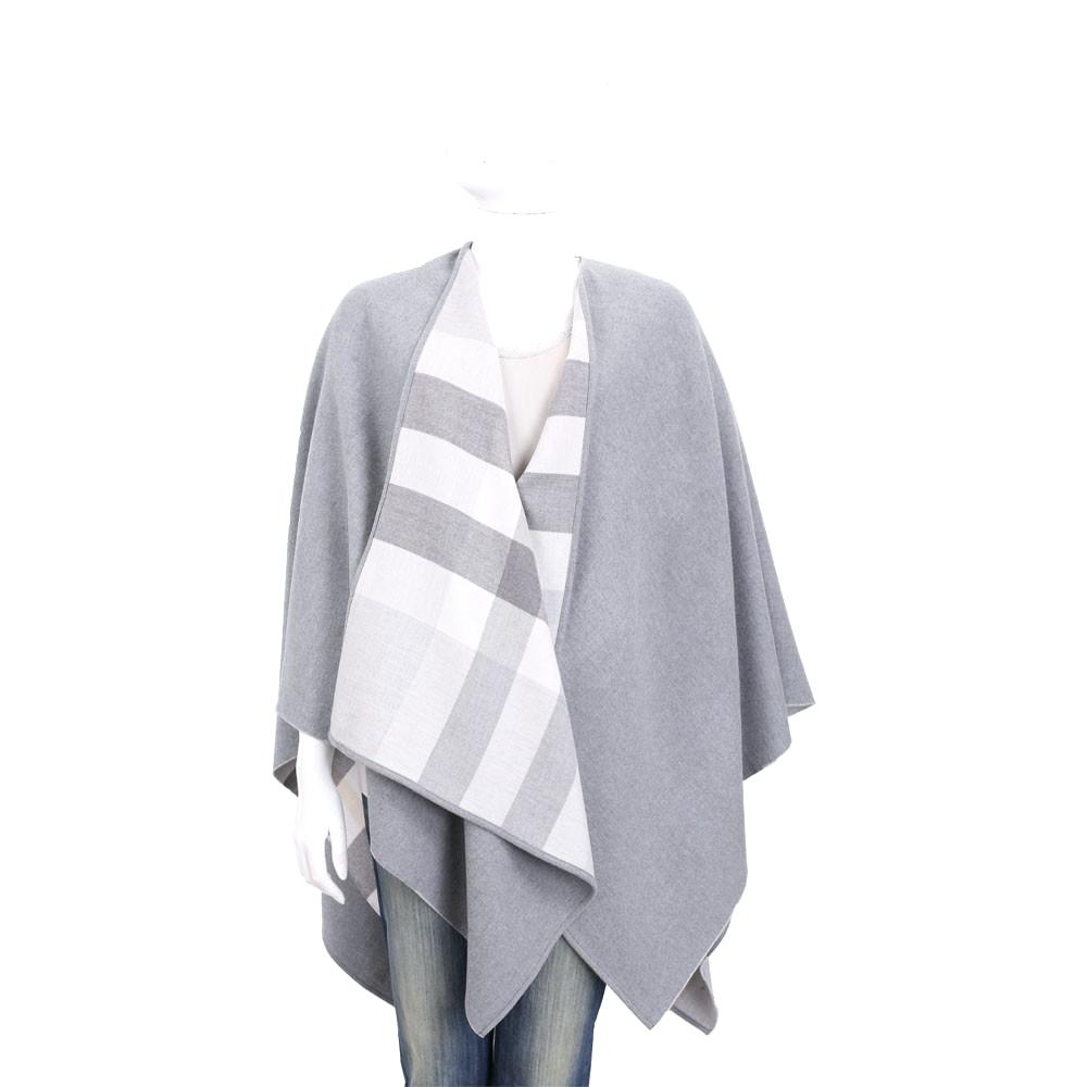 BURBERRY 雙面兩用格紋美麗諾羊毛罩衫(淺灰色)