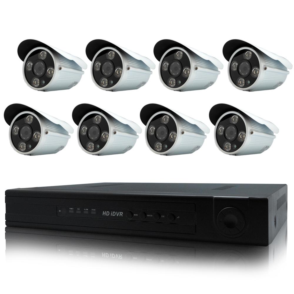 奇巧 8路AHD 720P高清遠端監控套組(SONY四陣列130萬攝影機x8)