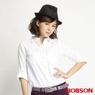 BOBSON 女款素色長袖襯衫(白80)