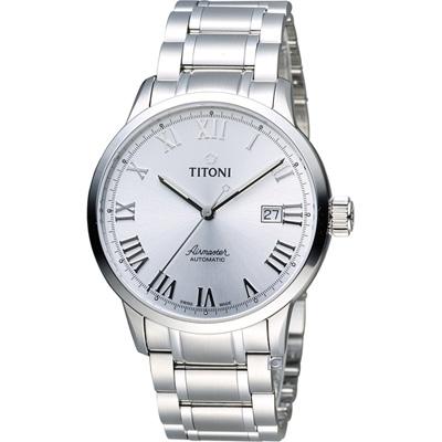 TITONI Airmaster 空霸Day-Date機械腕錶-銀/41mmm