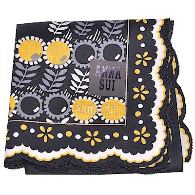 ANNA SUI 繽紛花朵字母圖騰金色刺繡LOGO帕領巾(黑色系)