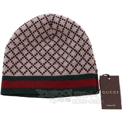GUCCI 鑽石菱格織紋毛線帽(咖啡色)