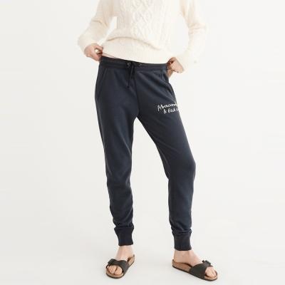 A&F 經典文字刺繡舒適長棉褲(女)-深藍色 AF Abercrombie