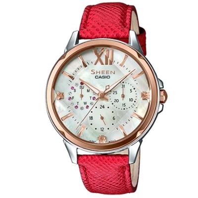 SHEEN 切割玻璃面設計羅馬時刻皮帶腕錶(SHE-3056GL-7A)紅色37.1mm