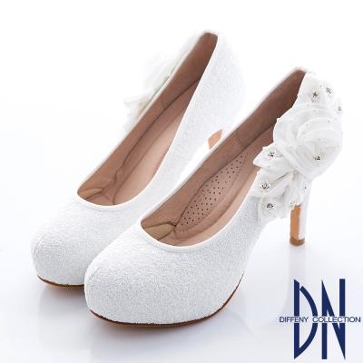 DN-婚宴系列-焦點金蔥花漾水鑽跟鞋-白