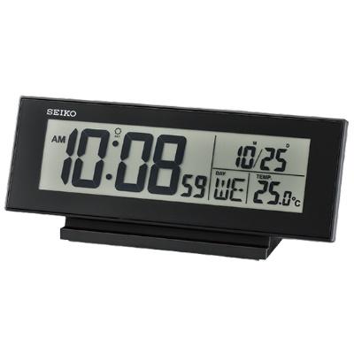 SEIKO 精工 電子鬧鐘 溫度 日期 QHL072K -黑 20.6x8.3cm