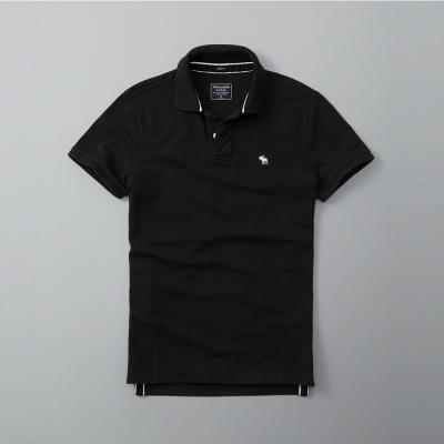 A&F 經典麋鹿短袖Polo-黑色 AF Abercrombie