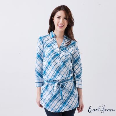 Earl Jean-半開襟格紋收腰綁帶襯衫-藍