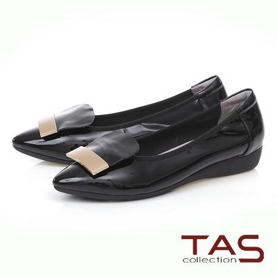 TAS 金屬一字造型尖頭娃娃鞋-實搭黑
