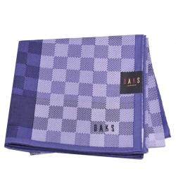 DAKS 經典品牌字母LOGO刺繡方塊大格紋綿紡帕領巾(大/藍紫系)