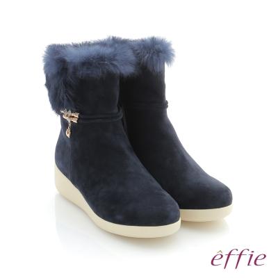 effie 循環暖靴 羊絨兔毛飾釦中筒靴 深藍色