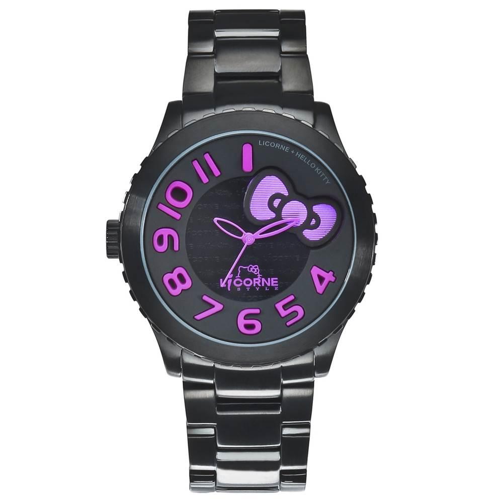 LICORNE+ HELLO KITTY 聯名系列 優質淑女時尚腕錶-紫/42mm