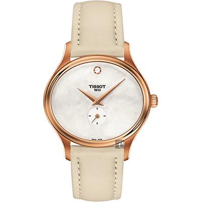 TISSOT天梭 BELLA ORA 系列小秒針女錶-珍珠貝x米色/31mm
