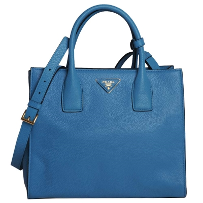 PRADA-TOTE-三角LOGO荔枝紋小牛皮手提斜背包-鈷藍-COBALT-BLUE