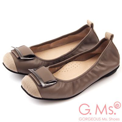 G.Ms. MIT系列-拼接鱷魚紋皮帶飾釦牛皮娃娃鞋-魅力灰
