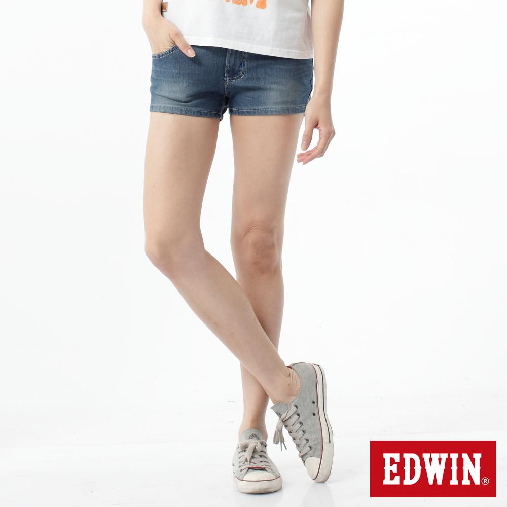 EDWIN 超短褲 迦績褲涼感牛仔短褲-女-石洗藍