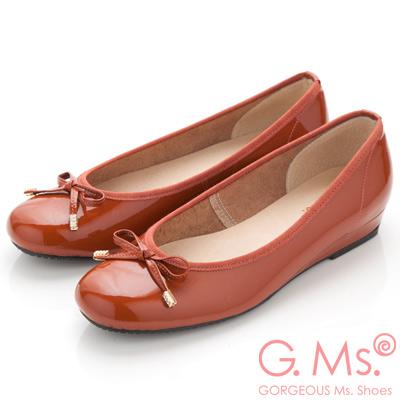 G.Ms. MIT系列-法式圓舞曲-蝴蝶結牛漆皮微坡跟娃娃鞋-俏皮橘