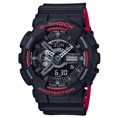 G-SHOCK重機裝置紅黑騎士精神休閒運動錶(GA-110HR-1A)紅黑雙色/51.2mm