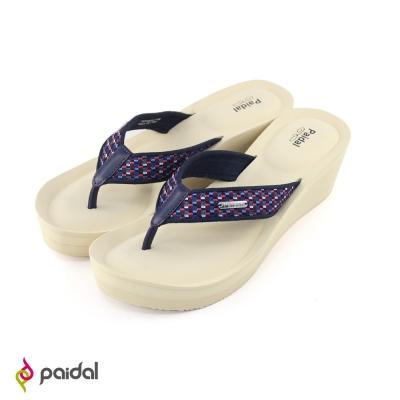 Paidal 氣質菱格美腿楔形鞋厚底鞋-裸膚米