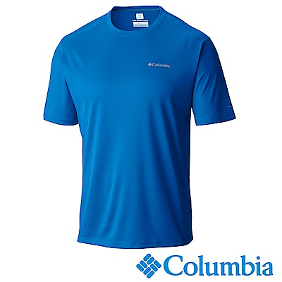 Columbia 哥倫比亞 男款-防曬30涼感快排短袖上衣 藍 UAM6464BL