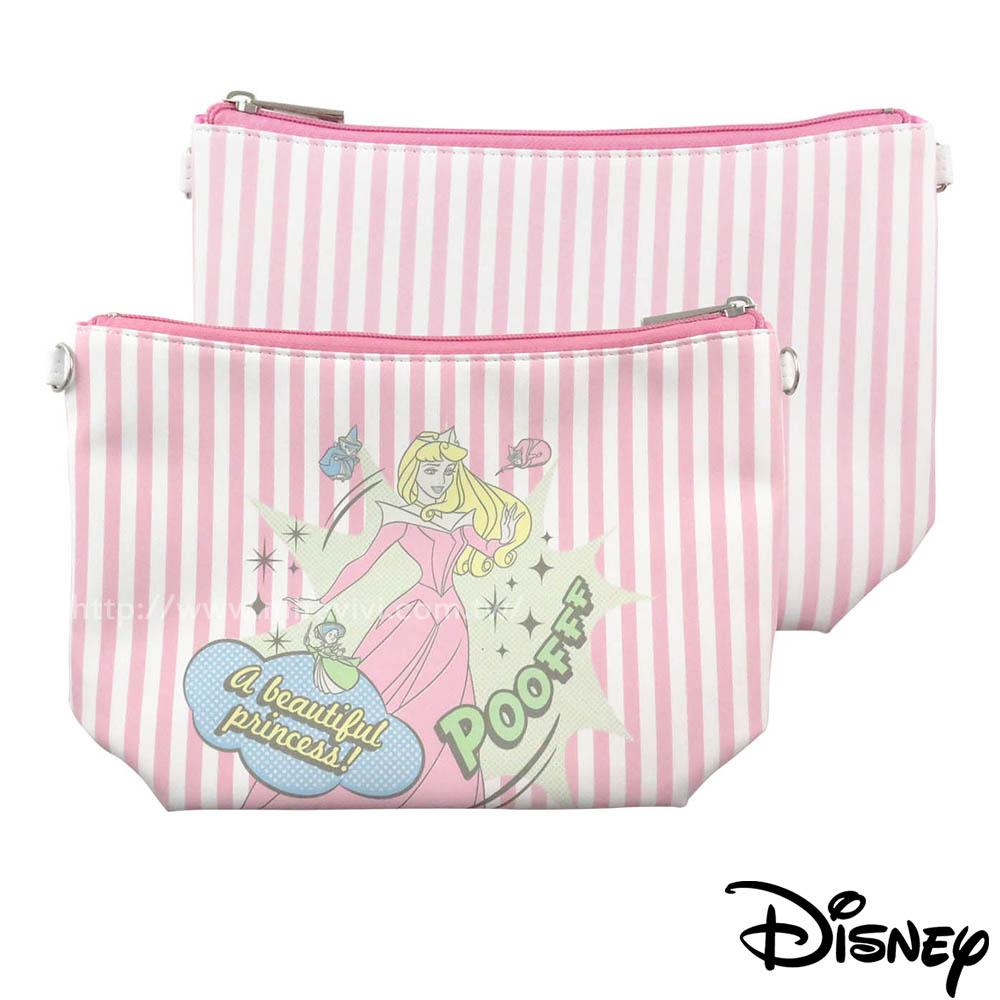 Disney迪士尼漫畫條紋公主系大容量化妝包/萬用包-睡美人