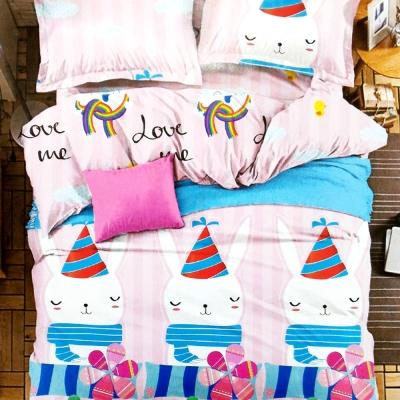 精靈工廠 療癒系天鵝絲絨加大床包三件套 萌兔寶貝