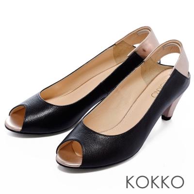 KOKKO-通勤OL-百搭撞色魚口高跟鞋-黑金