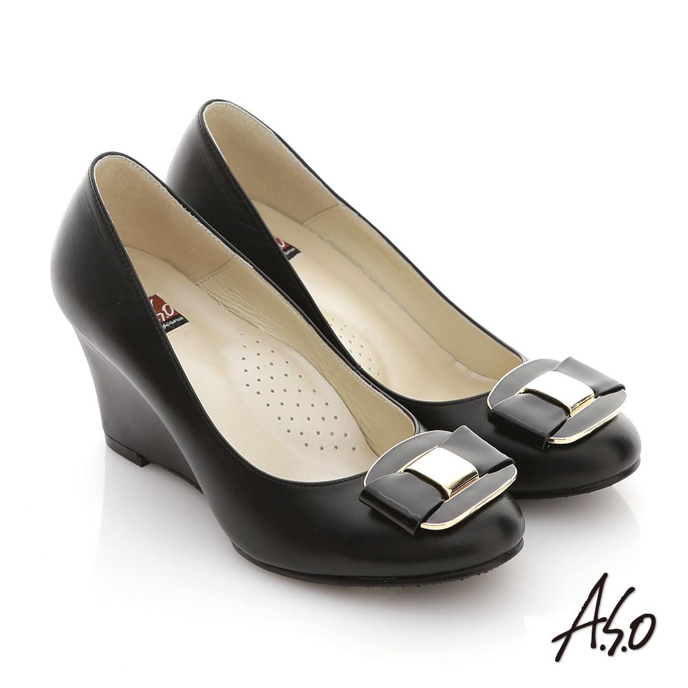 A.S.O 立體幾何 全真皮素面方形釦飾楔型跟鞋 黑