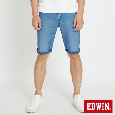 EDWIN 迦績褲JERSEYS貓鬚涼感短褲-男-石洗綠