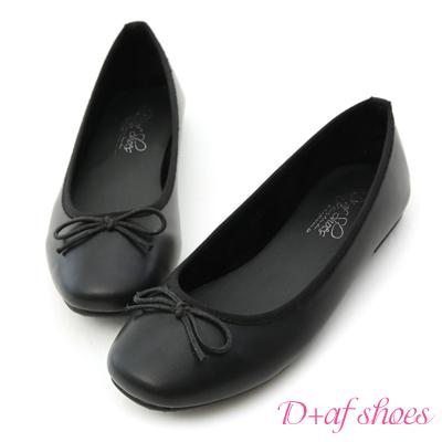 D+AF 輕甜俏皮.小方頭平底芭蕾娃娃鞋*黑