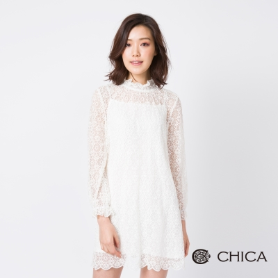 CHICA 極致純淨蕾絲設計洋裝(附內搭)(2色)
