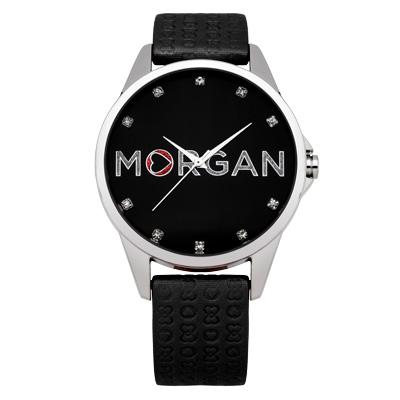 MORGAN 愛戀同心晶鑽時尚腕錶-黑/38mm