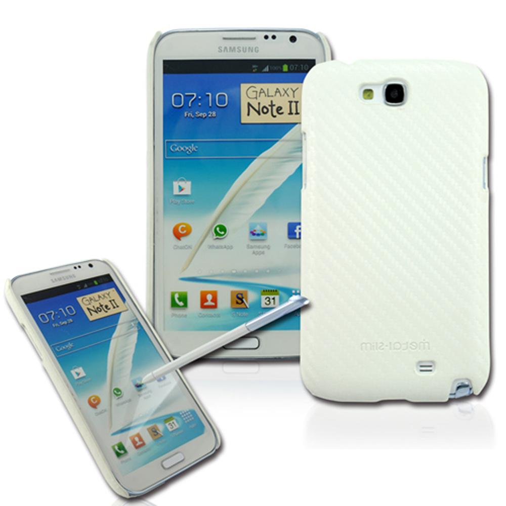 Metal-Slim Samsung Galaxy Note 2 卡夢白 保護殼