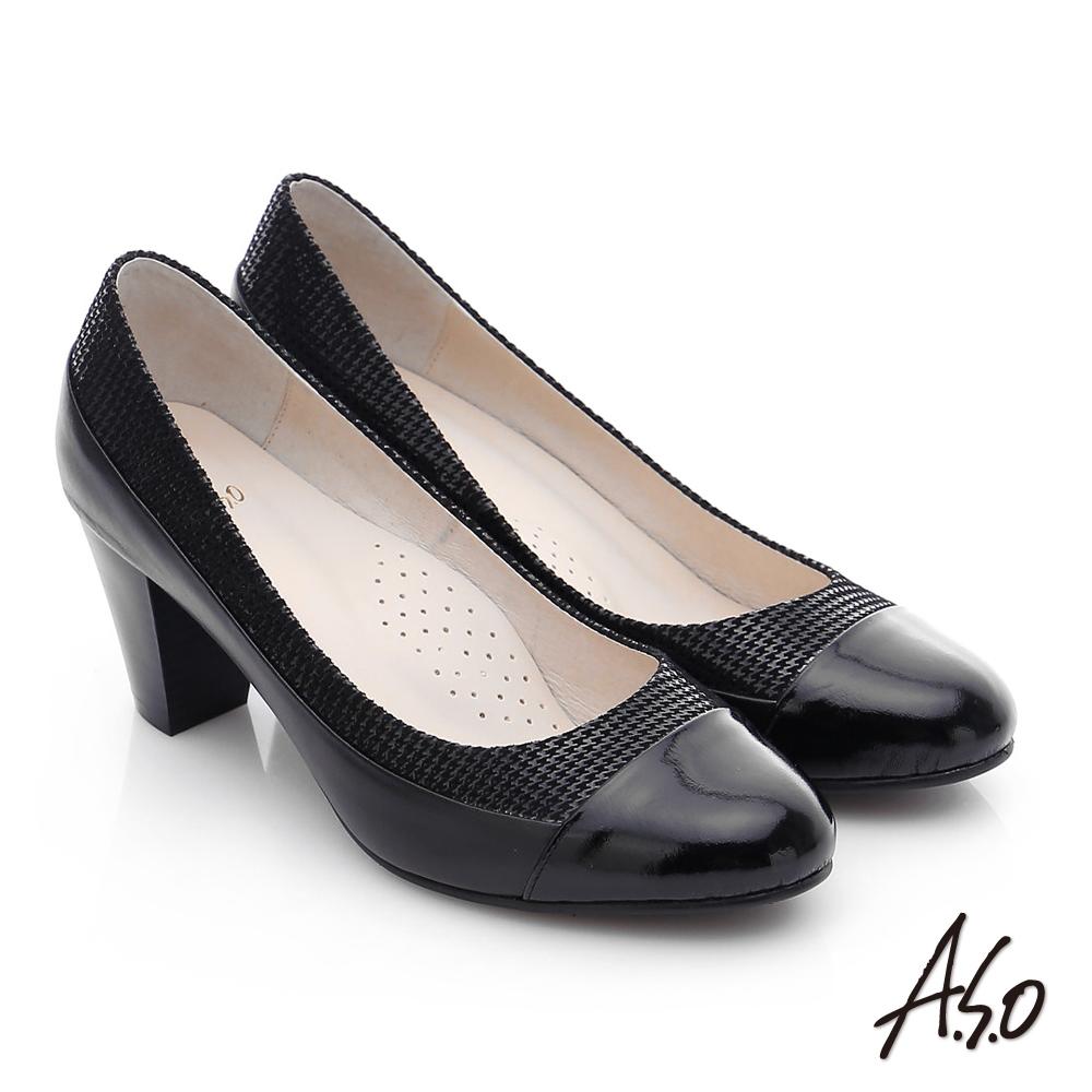 A.S.O 注目嬌點 真皮鏡面絨面拼接高跟鞋 黑