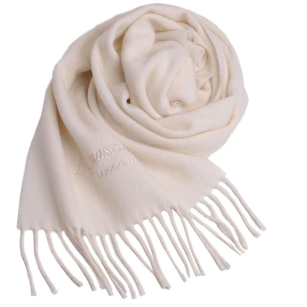 Aquascutum 高質感100%羊毛經典品牌字母LOGO刺繡圍巾(米白)