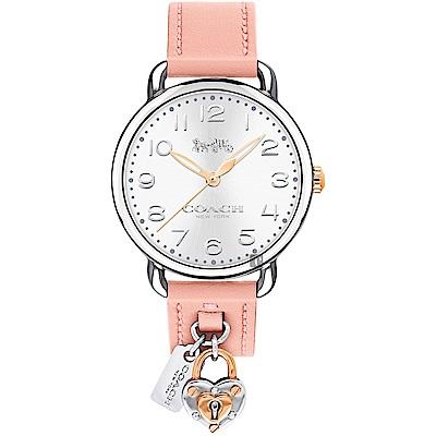 COACH Delancey 鎖住愛情女錶-銀x粉紅色錶帶/36mm