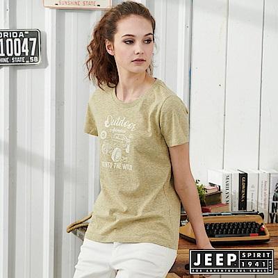 JEEP女裝 吉普車轉印圖騰短袖T恤-墨綠