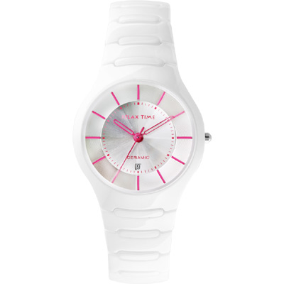 Relax Time 經典藍寶石陶瓷腕錶-白x桃紅時標/37mm