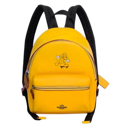 COACHXDISNEY聯名款黃色全皮滑板MICKEY前口袋後背包(小)