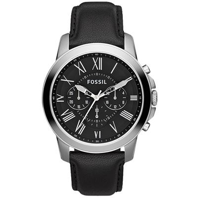 FOSSIL羅馬尊爵炫黑三眼計時時尚皮帶腕錶-黑/45mm