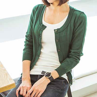 正韓-開襟排釦短版圓領針織外套-綠色-N-C21