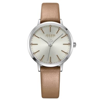 JULIUS聚利時 迷戀的精彩圓珠刻度皮錶帶腕錶-卡其色/33mm