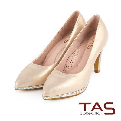 TAS-閃色羊皮水鑽包台尖頭高跟鞋-亮眼金
