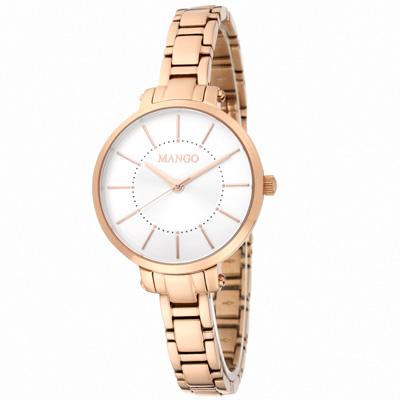MANGO 閃耀佳人不鏽鋼時尚腕錶-玫瑰金/34mm